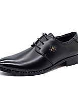 Men's Oxfords Spring / Fall Pointed Toe Pigskin Casual Flat Heel Lace-up Black Others