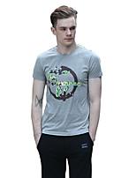 Herren T-shirt-Druck / camuflaje Freizeit Baumwolle Kurz-Grau