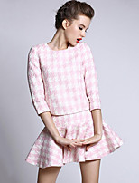Women's Going out Sophisticated Fall Set Skirt Suits,Houndstooth Round Neck ¾ Sleeve Pink / Black Cotton Thick