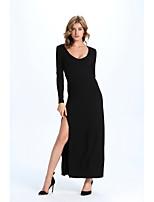 Gaine Robe Femme Décontracté / Quotidien Sexy,Couleur Pleine Col Arrondi Maxi Manches Longues Noir Coton Eté Taille Normale