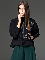 CELINEIA Women's Going out Street chic Spring / Fall JacketsEmbroidered Stand Long Sleeve Black / Green