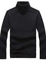 Men's Solid Casual / Work / Formal / Sport / Plus Size Pullover,Polyester Long Sleeve