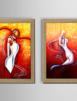 The Little Mermaid Oil Painting Modern Abstract People Set of 2 Hand Painted Natural linen with Stretched Frame