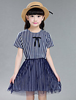 Girl's Going out Striped Dress,Cotton / Others Summer Blue / Gray