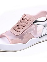 Women's Sandals Summer Sandals Suede Outdoor Flat Heel Lace-up Pink / White Others