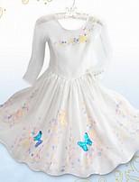 Vestido Chica de-Casual/Diario-Floral-Acrílico-Todas las Temporadas-Blanco