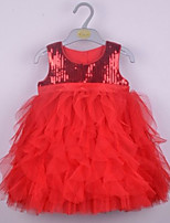 Girl's Casual/Daily Solid DressCotton Summer Pink / Red / White