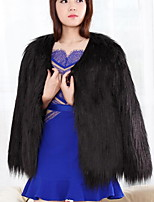 Women's Plus Size Simple Fur CoatSolid Round Neck Long Sleeve Winter Blue / Pink / White / Black /