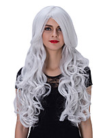 The European and American fashion silver long curly hair