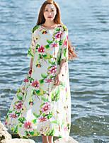 Женский На каждый день Шинуазери (китайский стиль) Свободный силуэт Платье Цветочный принт,Вырез лодочкой До колена Рукав ¾ Зеленый Лён