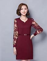 Women's Plus Size  Street chic Shift DressPatchwork Asymmetrical Above Knee Long Sleeve Polyester Spring / FallMid