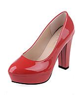 Черный / Красный / Белый / Бежевый-Женский-Для офиса / На каждый день-Полиуретан-На толстом каблуке-На каблуках / С острым носком-Обувь