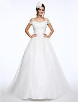 Lanting Bride® Salón Vestido de Boda Corte Hombros al Aire Encaje / Organza con Apliques / Cuentas
