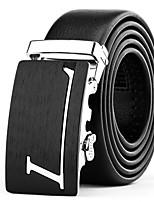 Mens Suits Dress Black Leather Waist Belt Strap Silver Automatic Belt Buckle With L Letter