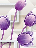 JAMMORY 3D Floral Wallpaper Contemporary Wall Covering,Canvas Large Mural Purple Flower
