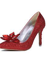 Damen-High Heels-Lässig-Stretch - Satin-Stöckelabsatz-Absätze-Rot / Weiß