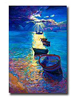 Modern Wall Art Oil Painting Abstract Boat Hand Painted On Canvas With Stretched Frame