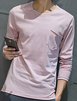 Men's Solid Casual T-ShirtPolyester Long Sleeve-Black / Pink / White / Gray