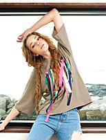 LIANGSANSHI Women's Casual/Daily Street chic Summer T-shirt,Print Round Neck ½ Length Sleeve Black / Brown Cotton Thin