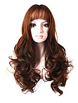 Fashion Long Curly Wig Brown Color Synthetic African American Women Wigs