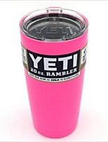 Hot Pink Yeti Cooler Rambler Tumbler 20 oz Silver Insulated Thermos Cup Mug  New