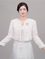 Women's Wrap Shrugs Long Sleeve Faux Fur Ivory / Red Wedding / Party/Evening Scoop 41cm Rhinestone Open Front