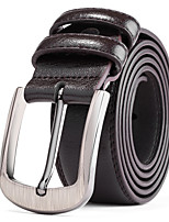 Men's Silver Belt Buckle Black Leather Waist Belt Straps For Casual Pants Jeans Belts