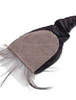 Wholesale Price Large 100% Human Hair Stock Medium Brown Swiss Lace  4x4 Loose Wave Silk Base Closure
