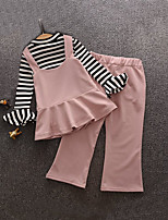 Girl's Casual/Daily Solid Blouse / Pants / Clothing SetCotton Spring / Fall Black / Pink