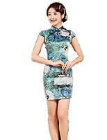 One-Piece Short Sleeve Medium Length Ink Blue Lolita Dress Polyester