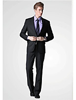 Suits Standard Fit Notch Single Breasted Two-buttons Viscose Solid 2 Pieces Black Slanted Flapped