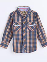 Boy's Casual/Daily Houndstooth ShirtCotton Fall Brown
