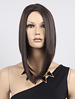 Women Short Bobo Wigs Straight Black Synthetic Hair Wigs Highlighted Heat Resistant Natural Middle Part Wig
