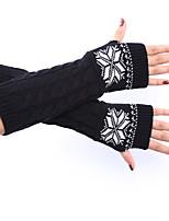 женские зимние шерсти вязание поворот рождественские снег печати цветные перчатки