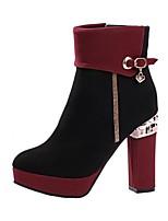 Mujer-Tacón Robusto-Botas a la Moda-Botas-Exterior-Vellón-Negro / Rojo