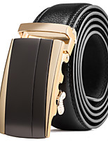 Men's Suits Dress Black Leather Waist Belt Strap Brown Gold Automatic Belt Buckle
