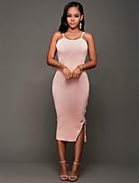 Women's Club Sexy / Simple Bodycon DressSolid Strap Midi Sleeveless Bandage Backless Mid Rise Micro-elastic Medium