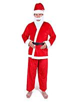 Costumes Costumes de père noël Noël Rouge Couleur Pleine Tissu non tissé Haut / Pantalon / Chapeau