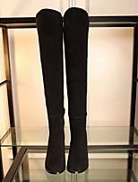 Черный / Бордовый-Женский-Для прогулок-Замша-На толстом каблуке-Модная обувь-Ботинки