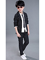 Boy's Casual/Daily Striped Clothing SetCotton Spring / Fall Black / White