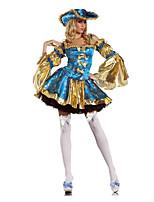 Costumes de Cosplay / Costume de Soirée Pirate Fête / Célébration Déguisement Halloween Bleu Ciel Mosaïque Robe / Plus d'accessoires