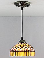 40W Pendant Light   Tiffany / Vintage Painting Feature for Mini Style Metal Bedroom / Entry