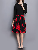 Women's Plus Size Sophisticated Sheath DressFloral Round Neck Knee-length Long Sleeve Black Polyester Fall High Rise