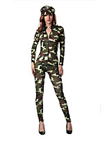 Women's  Camouflage Police Jumpsuit  Fancy Dress Halloween Costume