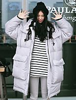 Пальто Уличный стиль Длинная Пуховик Женский,Однотонный На выход / На каждый день Полиэстер Пух белой утки,Длинный рукав Капюшон Серый