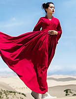 Ramie Cotton Women's Casual/Daily Simple / Chinoiserie Loose DressSolid V Neck Maxi Long Sleeve Red
