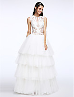 Lanting Bride® A-line Wedding Dress Floor-length Jewel Tulle with Appliques / Button / Tiered