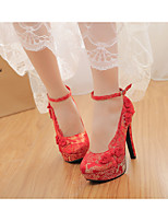 Women's Heels Spring / Fall Round Toe Suede Wedding Stiletto Heel Bowknot Red Others