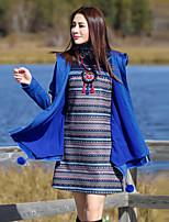 Our Story Women's Going out Boho CoatPaisley Turtleneck Long Sleeve Winter Blue Wool / Polyester Thick