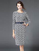 MISS FRENCH  Going out / DailySexy/ Sophisticated Sheath Dress,Jacquard Round Neck Knee-length ¾ Sleeve Gray